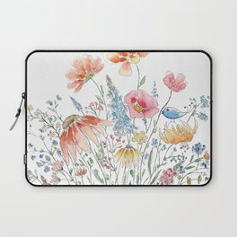 wild flower bouquet and blue bird- ink and watercolor 2 Laptop Sleeve