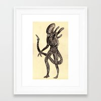 xenomorph Framed Art Prints featuring xenomorph by withapencilinhand