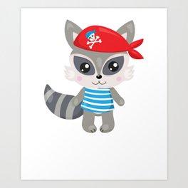 Animal Pirates Animal Pirate Raccoon Pirate Themed Birthday Art Print