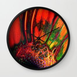 Orange Color Abstract Daisy Close Up Wall Clock