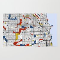 chicago map Area & Throw Rugs featuring Chicago by Mondrian Maps