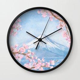 Mount Fuji with Sakura Watercolour Painting Wall Clock