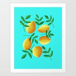 Lemons on Teal Art Print