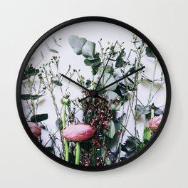 Floral Peeks Wall Clock
