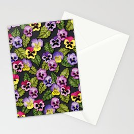 Purple, Red & Yellow Pansies With Green Leaves - Floral/Botanical Pattern Stationery Cards