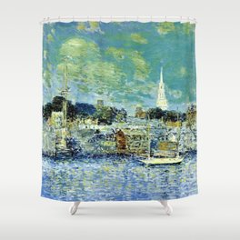 Classical Masterpiece 'Newport, Rhode Island Waterfront' by Frederick Childe Hassam Shower Curtain