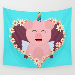 Unicorn Pig in flower heart Wall Tapestry