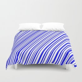 Blue on White Diagonal Stripes Duvet Cover