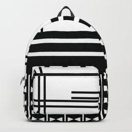 Matchy Stripes 2 Black and White Pattern Backpack