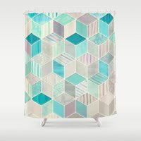 bedding Shower Curtains featuring Vacation Patchwork by micklyn