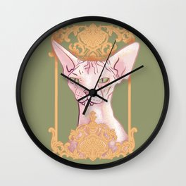 Royal Hairless Sphynx Cat in a Gold Baroque Frame - Green Background Wall Clock