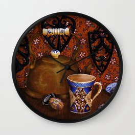 """""""Favorite tea cup and copper tea kettle of my daughter"""" Wall Clock"""