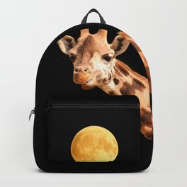 Giraffe And The Moon On A Black Background #decor #society6 #buyart Backpack