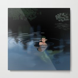 Pond Mermaid Metal Print