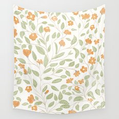 Spring Orange Floral Pattern Wall Tapestry
