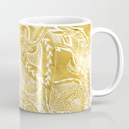 Modern lemon curry watercolor floral hand drawn pattern Coffee Mug