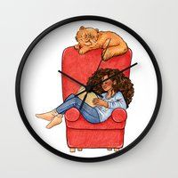 hermione Wall Clocks featuring Reading fictional characters: Hermione by Susanne
