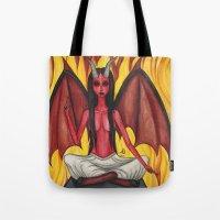 baphomet Tote Bags featuring Baphomet by Aisha Diandra