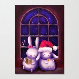 Chubby bunnies at christmas night Canvas Print