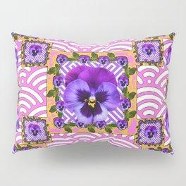 PINK & PURPLE PANSY ART ABSTRACT  PATTERN Pillow Sham