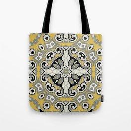 Edwardian Geo Yellow Grey Tote Bag