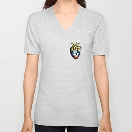 heart shape, graphic, letters, Colombia, Colombian flag, Bogota, Colombian city, Colombian T-shirts, Colombian Swag Unisex V-Neck