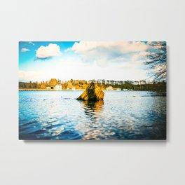Tree Stump Inside Möhne Reservoir Lake bright Metal Print