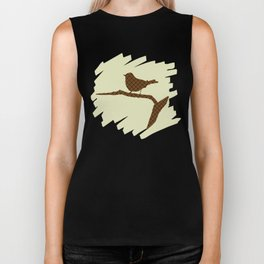 Brown Bird Silhouette Biker Tank
