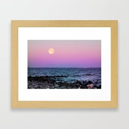 Full Moon on Blue Hour Framed Art Print