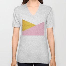 Gold & Pink Geometry Unisex V-Neck