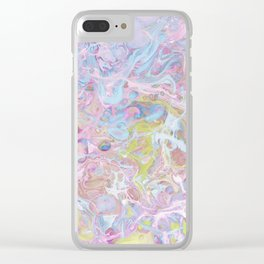 Modern abstract pink teal lilac yellow watercolor marble Clear iPhone Case