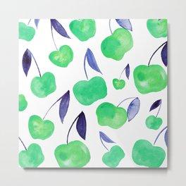 Watercolor cherries - green and blue Metal Print