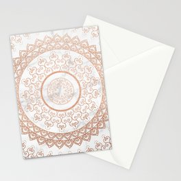 Mandala - rose gold and white marble Stationery Cards