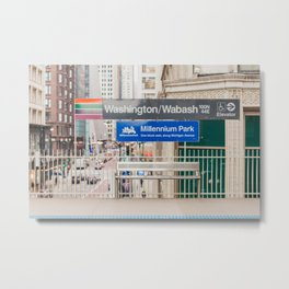 Washington & Wabash - Chicago El Stop Photography Metal Print