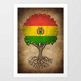 Vintage Tree of Life with Flag of Bolivia Art Print