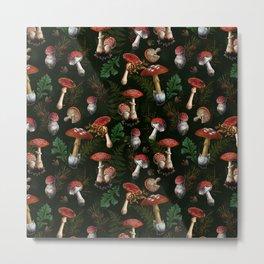 Vintage Dark Night Mushroom Forest Metal Print