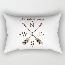 Cardinal directions Compass Arrows Adventure awaits Typography Rectangular Pillow