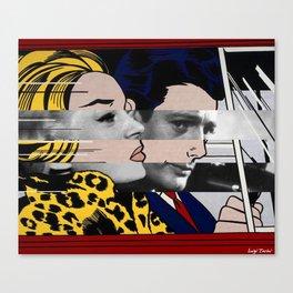 "Roy Lichtenstein's ""In the car"" & Marcello Mastroianni with Anita Ekberg in La Dolce Vita Canvas Print"