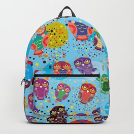 colorful owls on a blue background Backpack