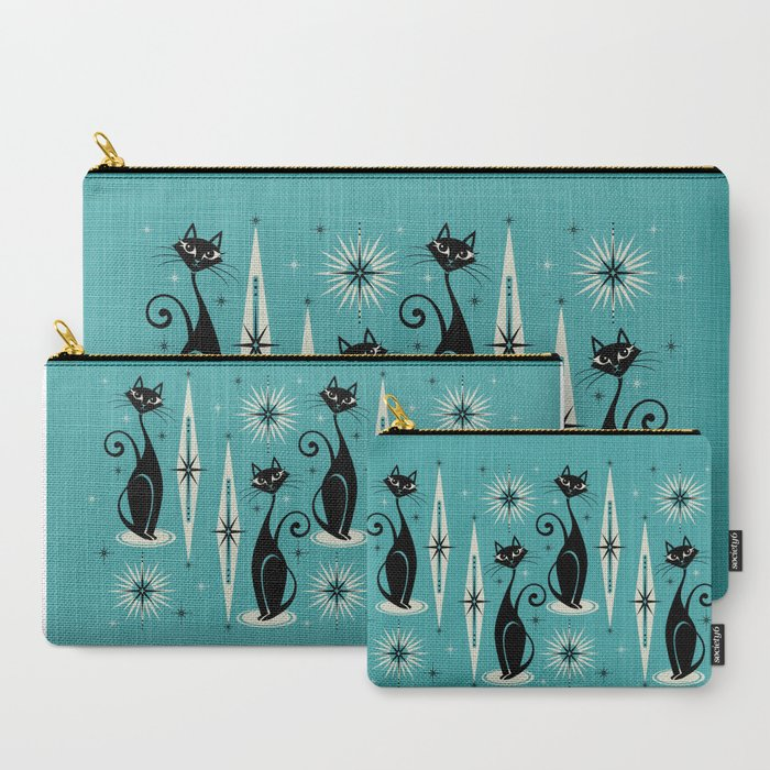 Mid_Century_Meow_Retro_Atomic_Cats_on_Blue_CarryAll_Pouch_by_studioxtine__Set_of_3