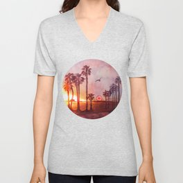 Sunset in Santa Monica Unisex V-Neck