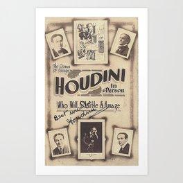 Houdini, vintage poster, original Art Print
