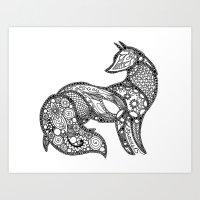 Floral Fox Version 1 Art Print