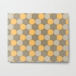 Honeycombs op art beige Metal Print