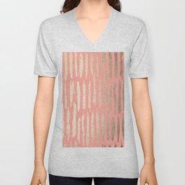 Vertical Dash Tahitian Gold on Coral Pink Stripes Unisex V-Neck