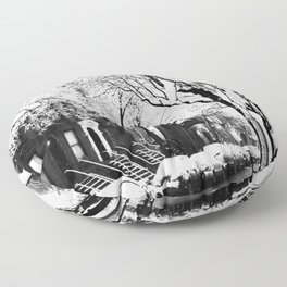 Black and White Photo of the Beautiful Brooklyn Heights covered in icy snow Floor Pillow