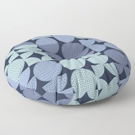 MidCentury Modern Moons with Stitching in Blues Floor Pillow