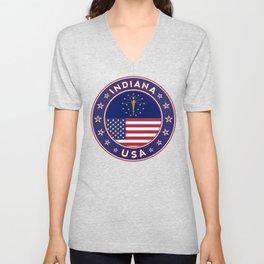 Indiana, Indiana t-shirt, Indiana sticker, circle, Indiana flag, white bg Unisex V-Neck
