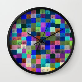 Neon Pixelated Patchwork Wall Clock