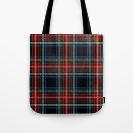 Minimalist Black Stewart Tartan Tote Bag